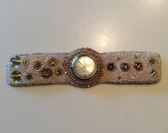 Bead embroidery watch