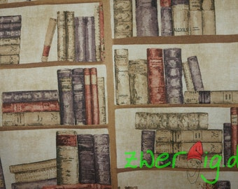 One book shelf and books - decorative fabric Bookshelf books