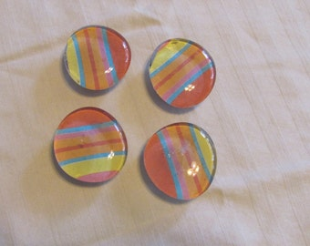Glass Marble Magnets, Set of 4