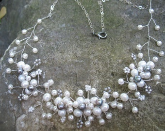 Bridal Necklace with fresh water pearls