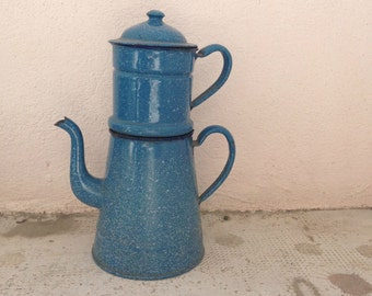 RARE Vintage French Enamelware blue and grey Enamel Coffee Pot