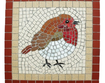 Robin Redbreast Mosaic chubby robin picture wall hanging garden or house