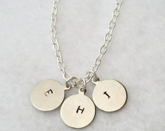 Silver disk initial necklace