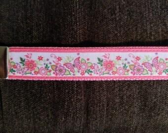 Key Fob Wristlet- Pink Butterfly/ Flower Garden  01