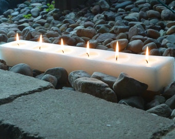 Custom hand poured 24 inch long block candle with 6 wicks