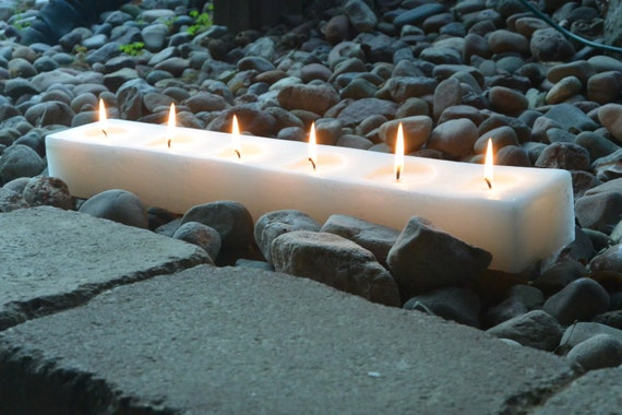 24 inch long block style candle with 6 wicks. Choose your color and scent. Custom made for you!