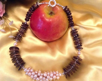 Excellent Necklace of pearl. mascot boho style.energy For woman.summer trend.ecologic style,natural pearl. extraord