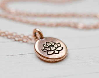 Copper Lotus Necklace, Meditation Lotus Flower Charm Pendant, Buddhism Yoga Spiritual Jewelry, Bright Copper Chain Lotus + Bliss