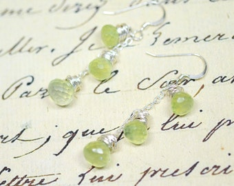 Lime Green Chandelier Earrings, Wire Wrapped Sterling Silver Beaded Dangles, Mojito Margarita Green Drops, Chalcedony Gemstone Jewelry