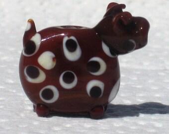 Spotty the Brown Cow Handmade Lampwork Glass Focal Bead Ornament Gwen SRA Art Sculpture