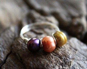 Handmade, Sterling Silver Three Pearl Ring