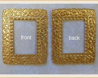 2 pieces raw brass frame ornate vintage E0025