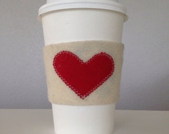 Coffee Cozy - Heart, Coffee Cup Cozy, Heart Coffee Sleeve, Heart Coffee Cozy