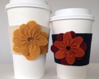 Coffee Cozy - Cream, Coffee Sleeve - Cream, Cream Felt Coffee Cozy, Felt Tea Cozy, Flower Coffee Cozy, Fall Coffee Cozy, Autumn Coffee Cozy