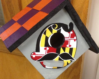 Hand painted, Baltimore Orioles and Ravens birdhouse