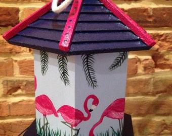 Hand painted Flamingo birdhouses