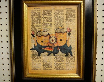 Minions print on Vintage Dictionary Page
