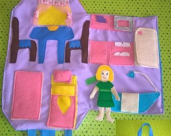 Travel Dollhouse with Felt Doll, Quiet Book, Dollhouse Busy Book, Activity Book