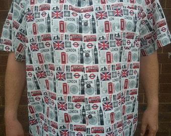 7XL London calling cotton casual shirt hawaiian style