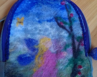 Wool decorated kids backpack