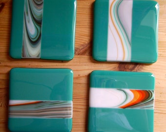 Fused glass coasters x four