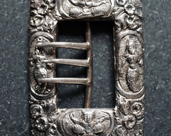 Antique Victorian Silver Indian Belt Buckle with Goddess Figures