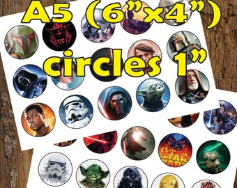 30 Star Wars Digital Party Stickers Circles size 1'' sheet A5 (4''x 6'') Bottle Cap images Cupcake Toppers