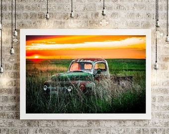 Old Rusty Ford Truck In Sunset Field 8x10 Print by Lola D'Vine - More Sizes Available