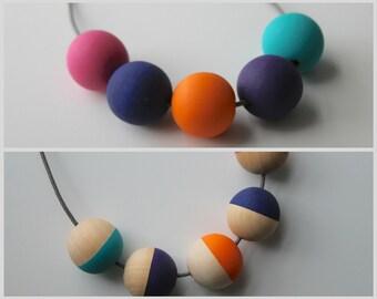 Handmade Multicoloured Brights Wood/Wooden Bead/Beaded Necklace - Minimalist/Contrast *2 Designs*