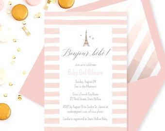 Digital Invitation Set - Bonjour Bebe Baby Shower