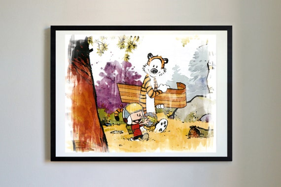 Calvin and hobbes 13 playtime nursery art print decor for Calvin and hobbes nursery mural