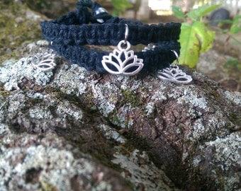 Double wrap black hemp bracelet with lotus flower charms