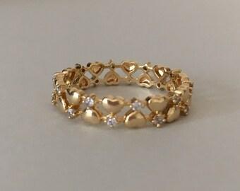 Handmade Eternity Band, Gold  Eternity Ring, Gold Eternity Band, Hearts Ring, Eternity Ring, Gold Eternity Ring Diamond