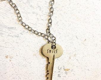 "Old Key ""Smile"" Necklace"