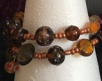 Brown beaded memory wire bracelet for adult size