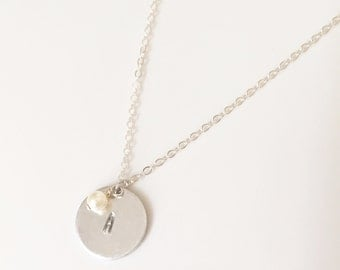 Silver Disc Necklace, Disc Necklace, pearl necklace, custom disc necklace,  Silver Circle Necklace, Hand Stamped Necklace, Initial Necklace