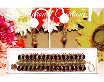 Thumbelina. Beaded Bracelet & earrings set.