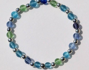 """Caribbean Colors 9"""" Anklet / Bracelet with Smooth Glass and Silver Plate Beads"""
