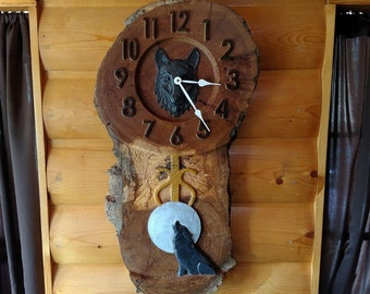 Wolf Wood Slice Clock - Oak