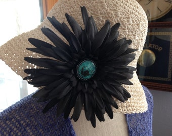 Black with Turquoise Posie