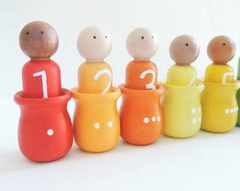 Math Peg Dolls - Counting Game - Waldorf Math Gnomes - Counting Toy - Preschool Math Activity - Sorting and Counting