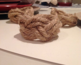 Set of 4: Nautical Rope Napkin Rings