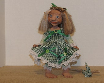"OOAK Art Doll, Polymer Clay Troll, 10"" Handmade Troll, Sweet and Flirty ""PATSY"" the Trol, by Susan Massey"