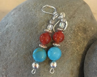 Turquoise & red jasper earrings