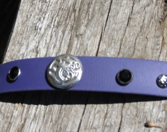 Dog collar,  handmade, beautiful and tough, biothane with Celtic lion and bling!  15.5 -16.5 inches