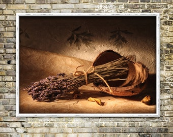 Lavender and Coconut print, artwork, color photography, classical, still life, instant download