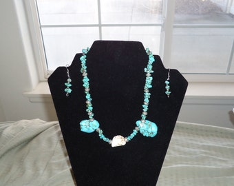 Handmade Teal and White Necklace