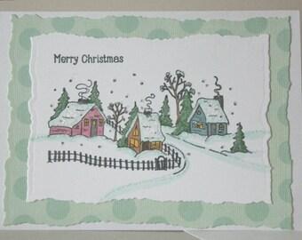 Christmas Card Handmade, Greeting Card Handmade, Winter Village Card, Merry Christmas Card