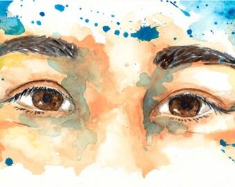 watercolor portrait // whole // art // print // home