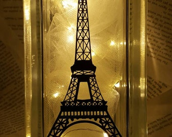 Effiel Tower Night Light Glass Block